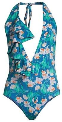 PatBO Floral Ruffle Deep-V One-Piece Swimsuit
