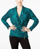 Thalia Sodi Printed Faux-Wrap Top, Only at Macy's