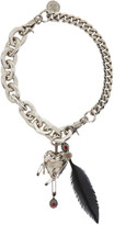 Alexander McQueen Silver Heart and Feather Chain Choker