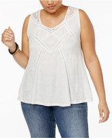 American Rag Trendy Plus Size Crochet-Trim Tank Top, Only at Macy's