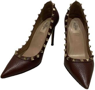 Valentino Rockstud Brown Leather Heels