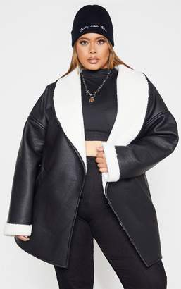PrettyLittleThing Plus Black PU Tie Waist Long Sleeve Jacket