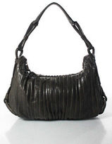 Giorgio Armani Brown Embossed Leather Shoulder Handbag