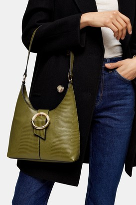 Topshop AMBER Green Lizard Shoulder Bag