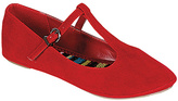 Soda Sunglasses Red T-Strap Laura Ballet Flat