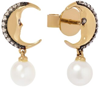 Annoushka Yellow Gold, Diamond and Pearl Mythology Moon Drop Earring