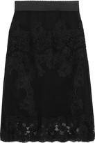 Dolce & Gabbana Lace-paneled Silk-blend Chiffon Skirt - Black