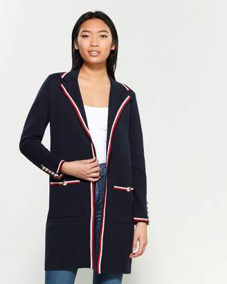 Tommy Hilfiger Stripe Button Long Sleeve Sweater Jacket