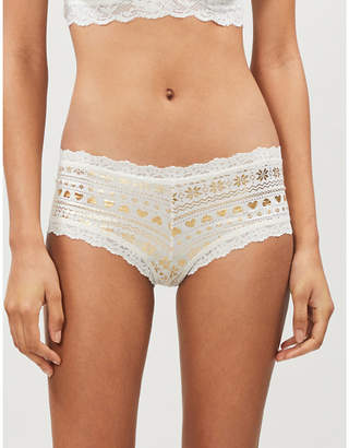 Hanky Panky Gift Wrap lace-trimmed metallic printed jersey boyshort briefs