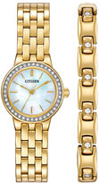 Citizen Womens Crystal-Accent Gold-Tone Stainless Steel Bracelet and Watch Set EJ6102-64D