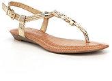 Gianni Bini Metallic Snake-Print Knotted Flat Sandals