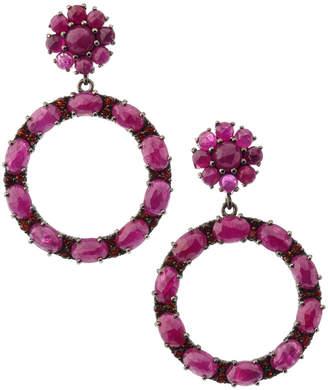Bavna Black Silver Open Circle Drop Earrings with Composite Ruby & Garnet