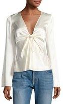 Alexander Wang Long-Sleeve Knotted Silk Habutai Blouse, White