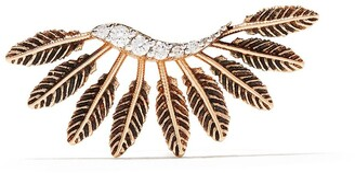 Kismet by Milka 14kt Rose Gold Feather Diamond Earrings