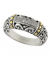 Effy Jewelry Effy 925 Classic Silver & Gold Diamond Ring, .07 TCW