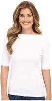 Lilla P Classic Elbow Sleeve Slit Neck Women's Short Sleeve Pullover