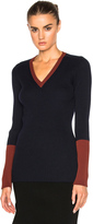 Victoria Beckham Wool Rib Shine Fitted V Neck Sweater