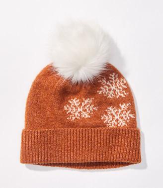 LOFT Snowflake Pom Pom Hat