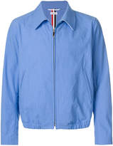 Thom Browne Double Welt Pocket Zip Up Golf Jacket With Elastic Hem In Salt Shrink Cotton