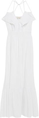 Vanessa Bruno Picot-trimmed Striped Gauze Maxi Dress