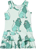 Mini Rodini Lion Frill Dress In Light Green