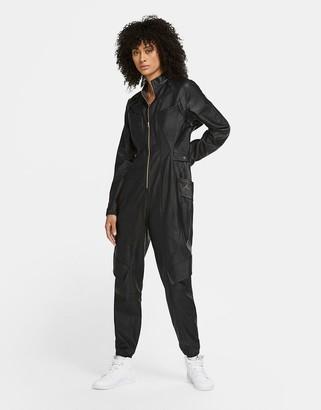 Jordan Nike CTR faux leather jumpsuit in black
