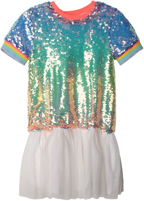 Billieblush Girl's Rainbow Sequin Tulle Short-Sleeve Dress, Size 4-12