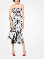 Michael Kors Portrait Print Satin Duchesse Dress
