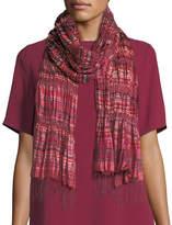 Eileen Fisher Hand-Loomed Silk Stripe Puckered Scarf