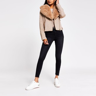 River Island Womens Camel quilted faux fur suede biker jacket