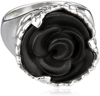 King Baby Studio Carved Jet Rose Ring Size 7