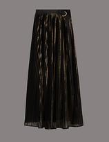 Autograph Metallic Texture Pleated A-Line Midi Skirt