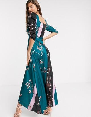 Liquorish milkmaid maxi dress with puff sleeve in floral print mix