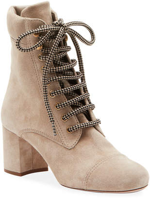 Miu Miu Lace-Up Suede Block-Heel Booties