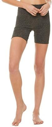 Alo High-Waist Vapor Leopard Shorts (Olive Branch) Women's Shorts
