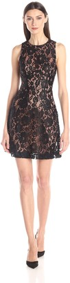 French Connection Women's Heartbreaker Sleeveless Lace Black/Nude 4