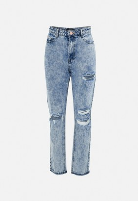 Missguided Blue Wrath Distressed Slash Straight Leg Jeans