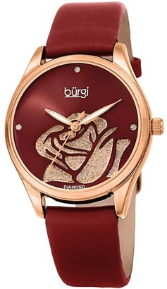 Burgi Ladies Diamond Glitter Rose Floral Red Leather Strap Watch