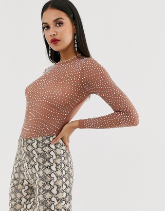 Asos DESIGN embellished long sleeve mesh body with crystal studs