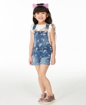 Epic Threads Toddler Girls Butterfly Denim Shortalls, Created for Macy's