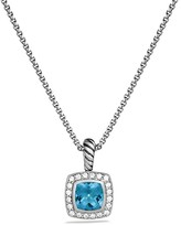David Yurman Petite Albion Pendant with Blue Topaz and Diamonds on Chain