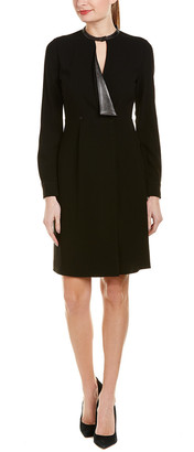 Elie Tahari Avrielle Leather-Trim Shift Dress