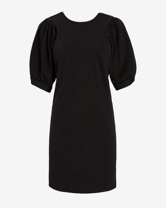 Express Seamed Puff Shoulder Sweatshirt Dress