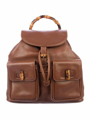 Gucci Bamboo Leather Backpack Brown