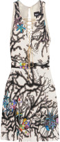 Just Cavalli Lace-up printed stretch-jersey mini dress