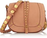 Jerome Dreyfuss Victor Embellished Nubuck Shoulder Bag - Tan