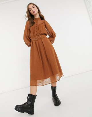Object button detail midi dress in brown