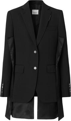 Burberry Logo Panel Detail Wool Tailored Jacket