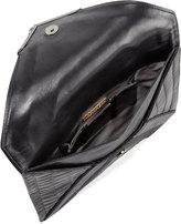 Marchesa Elisa Mixed-Exotic Clutch Bag, Black