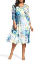 Komarov Plus Size Women's Floral Print A-Line Dress
